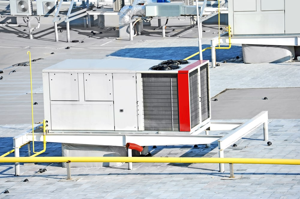 Packaged air conditioner on a roof of a commercial building